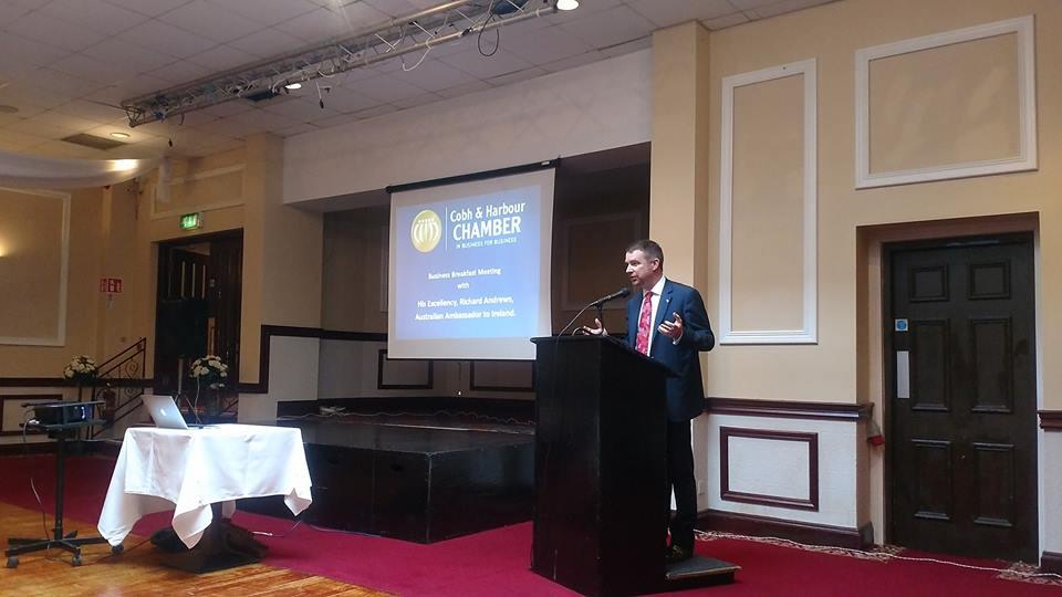 Australian Ambassador Richard Andrews address Breakfast Meeting at Cobh Harbour Chamber